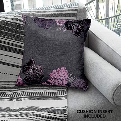Decozen Decorative Throw Pillow 18×18 in with Insert in 1 Set PU Patchwork for Couch Sofa Bed Living Room Bedroom Indoor Patio
