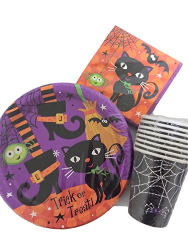 Halloween-Party-Pack-Bundle-with-Spooky-Black-Cat-Theme-with-8-Plates-Napkins-and-8-Cups