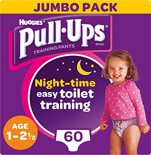 Huggies Pull-Ups Girl's Night Time Potty Training Pants, 1-2.5 Years, (60 Pants)