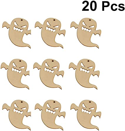 20pcs Unfinished Blank Wooden Cutout Pieces Party Gift Tags Labels DIY Craft