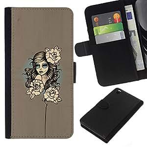 // PHONE CASE GIFT // Moda Estuche Funda de Cuero Billetera Tarjeta de crédito dinero bolsa Cubierta de proteccion Caso HTC DESIRE 816 / Floral Woman /