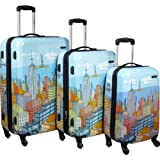 Samsonite Nyc Cityscapes 3 Piece Set 20/24/28, Blue Print, One Size