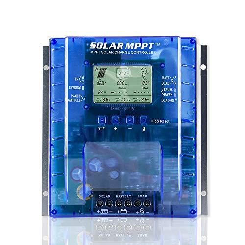 OOYCYOO 60A / 80A MPPT Solarladeregler Charge Controller Automatische Erkennung 12V/24V, Solarregler mit USB-Port Display für AGM-Gel versiegelte Batterie mit und Ladezeit-Einstellung