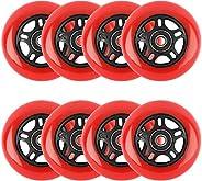 Yaegoo 8 Pack Inline Skate Wheels 64mm 85A, 80mm 85A, Inline Roller Skates Replacement Wheels,Kids Indoor Skat