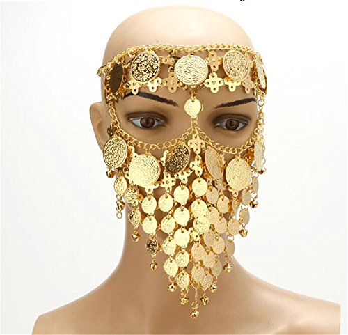 ZYZF Belly Dance Tribal Egyptian Halloween Costume Headwear Coins Face Mask Veil Tribal Bedouin Burka Burqa Metal Head Chain (Gold)