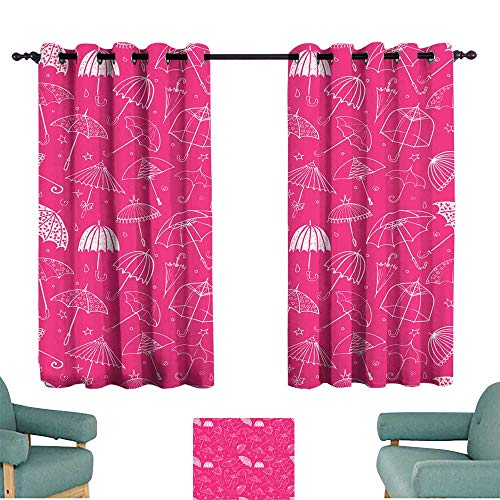 Warm Family Breathable Curtain Seamless Pattern with Umbrellas on Pink Background Can be Used for Wallpaper Pattern Fills Textile Web Page Background Surface Textures 70%-80% Light Shading, 2 Panels,