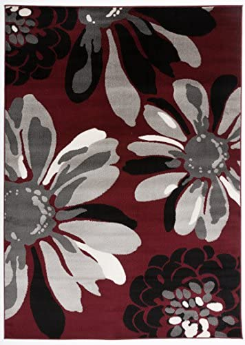 Rugshop Modern Flowers Area Rug 5 3 x 7 3 Red