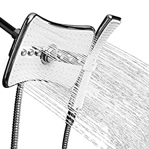 "AKDY 9"" Rectangular Quad Function Rainfall Jet Shower Head & Wand Combo In Chrome"