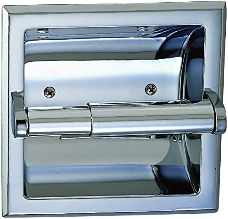 Designers Impressions Polished Chrome Recessed Toilet Tissue Paper Holder All Metal Contruction Mounting Bracket Included