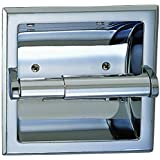 Designers Impressions Polished Chrome Recessed Toilet / Tissue Paper Holder All Metal Contruction - Mounting Bracket Included