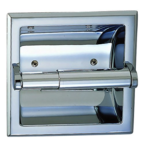 Designers Impressions Polished Chrome Recessed Toilet/Tissue Paper Holder All Metal Contruction - Mounting Bracket - Chrome Paper Glass Holder Toilet