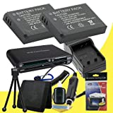 TWO NP-BG1 Lithium Ion Replacement Batteries w/Charger + Memory Card Reader/Wallet + Deluxe Starter Kit for Sony DSC-H10, DSC-H20, DSC-H3, DSC-H50, DSC-H55, DSC-H70, DSC-H7, DSC-H9, DSC-HX5, DSC-HX7V, DSC-HX9V, DSC-N1, DSC-T100, DSC-T20 Digital Cameras