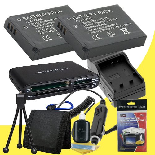 Two LI-50B Lithium Ion Replacement Batteries w/Charger + Memory Card Reader/Wallet + Deluxe Starter Kit for Olympus Stylus Tough 6000, Tough 6010, Tough 6020, Tough 8000, Tough TG-610, Tough TG-810, Stylus 1010, 1020, 1030 SW, 8010, 9000, 9010, SP-800 UZ, by DavisMAX
