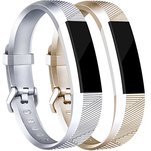 Tobfit Compatible Silicone Bands [2 Pack] Replacement for Fitbit Alta Bands/Fitbit Alta HR Bands, Classic Accessories Sport Wristbands Small, Silver, Champagne Gold