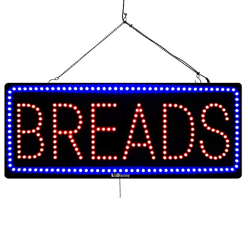 Large LED Window Open Sign - BREADS - Extra Bright, Can be seen Through Tinted Windows - 13