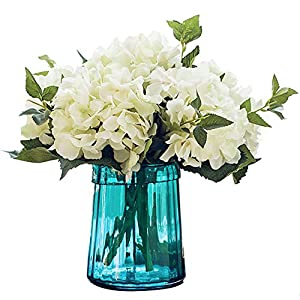 Felice Arts Pack of 3 Artificial Hydrangea Flowers Fake Silk Bouquet Flower for Home Wedding Decor(White)