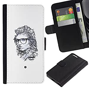 Billetera de Cuero Caso del tirón Titular de la tarjeta Carcasa Funda del zurriago para Apple Iphone 6 PLUS 5.5 / Business Style Portrait Emo Hipster Deep