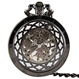 Unique Black Pocket Watch, Transparent Skeleton Pocket Watches, Hotsale Mechanical Hand Wind Pocket Watch