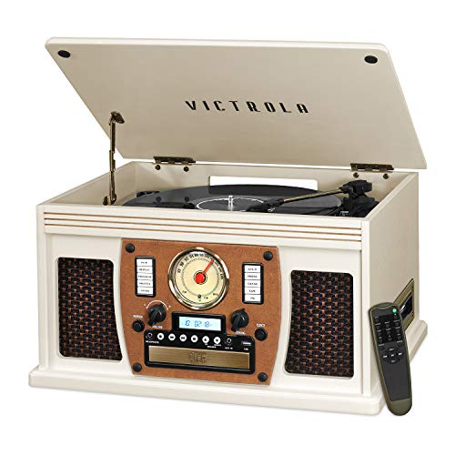 Victrola Navigator 8-in-1 Classic Bluetooth Record Player with USB Encoding and 3-speed Turntable (Pink Bluetooth Cd Player)