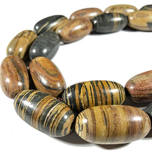 Petrified Wood Beads ([ABCgems] Matte Madagascar Chocolate Petrified Wood AKA Fossilized Wood (Beautiful Tiger Matrix) 15x30mm Smooth Rice Beads)