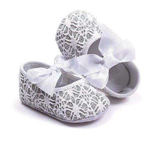 R & V Baby Girl Moccasins Princess Sparkly Premium suela ligera suave infantil Prewalker zapatos Crochet White