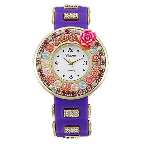 Women christmas Gift Flower Watch Women Silicone Flower Printed Jelly Sports Analog Quartz Wrist Watch (purple)