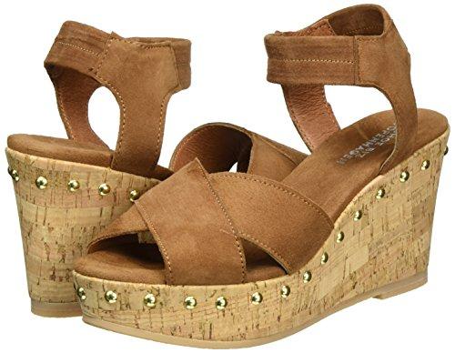 Sandals Cognac Biz Shoe suede Heels Women's Wedge Brown qxOSSwgB8
