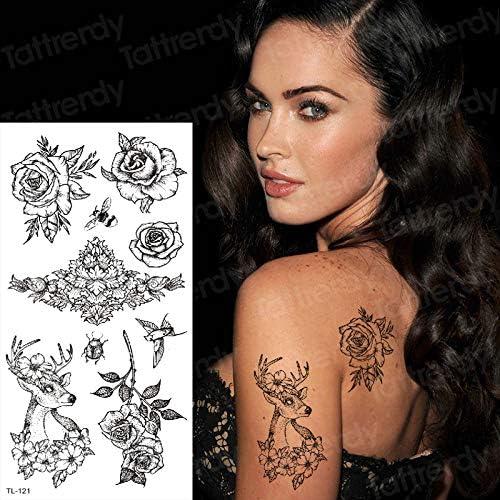 Chica boceto Etiqueta engomada del Tatuaje Temporal Flores Negras ...