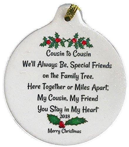 Cousins Ornament - Laurie G Creations Cousin Special Bond My Friend 2018 Porcelain Ornament Boxed