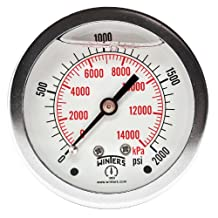"""Winters PFQ Series Stainless Steel 304 Dual Scale Liquid Filled Pressure Gauge with Brass Internals, 0-2000 psi/kpa,2-1/2"""" Dial Display, +/-1.5% Accuracy, 1/4"""" NPT Center Back Mount"""
