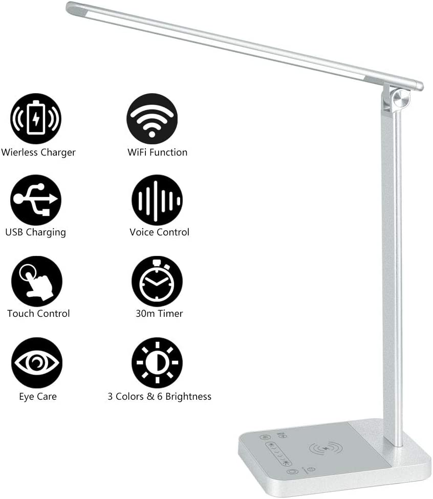 LED Desk Lamp with Fast Wireless Charger, WiFi, Desk Light 6 Brightness Levels 3 Lighting Modes Touch Control USB Port Timer Memory Function, Office Table Lamp Works with Alexa Google Home (Silver)