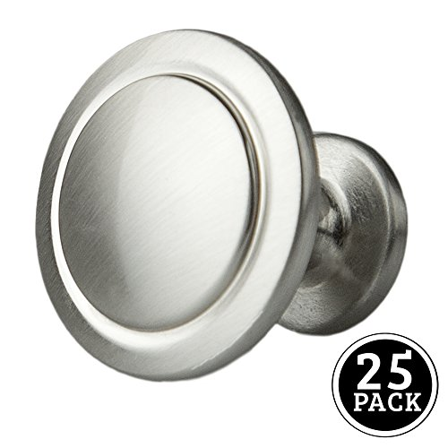 Satin Nickel Kitchen Cabinet Knobs - 1 1/4 Inch Round Drawer Handles - 25 Pack of Kitchen Cabinet Hardware