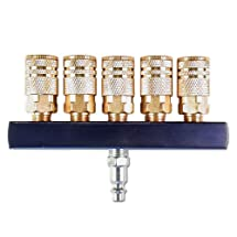 Primefit Primefit M14025-7 5-Way Air Manifold with (5) 1/4-Inch Industrial 6-Ball Brass Couplers, 1/4-Inch