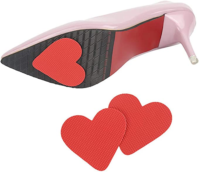 Women Heart Shape Sticker Frosted Anti-Slip Sole Protector for High Heel Shoes S