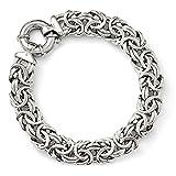 Sterling Silver 12mm Fancy Byzantine Link Bracelet, 7.5 Inch