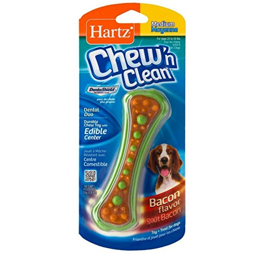 Hartz Chew N' Clean Dental Duo Dog Chew Toy Bacon Flavor, Medium 1 ea(Pack of (Hartz Dog Chews)