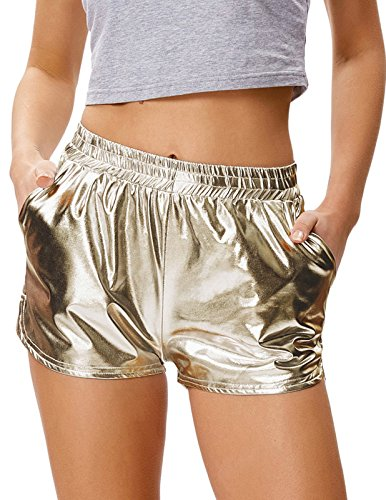 Womens Metallic Shorts Casual Loose Fit Hot Pants (L,Champagne) from Kate Kasin