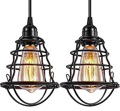 Industrial Pendant Light Edison Hanging Cage Pendant Lights E26 E27 Base Vintage Adjustable Pendant Lamp Fixture for Kitchen Home Lighting 2 Pack