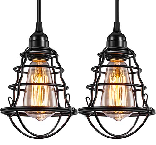 Industrial Pendant Light Edison Hanging Cage Pendant Lights E26 E27 Base Vintage Adjustable Pendant Lamp Fixture for Kitchen Home Lighting 2 Pack (Pendant Cage Wire)