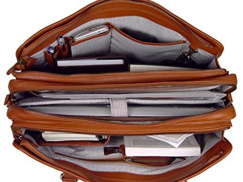 LeftOver Studio Genuine Leather Unisex Laptop Bag Organizer Briefcase Messenger Bag with Combination Lock by Leftover Studio (Image #6)