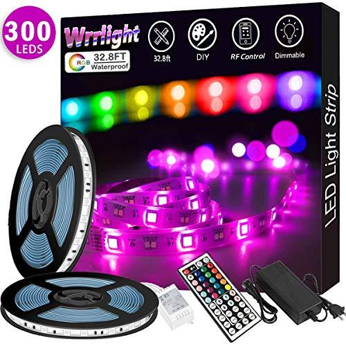 LED Strip Lights 32.8FT/10M 300 LEDs Waterproof RGB Light Strip Kits with Remote for Room, Bedroom, TV, Kitchen, Desk, Color Changing Light Strip Kit SMD5050 with 3M Adhesive, 12V Power Supply