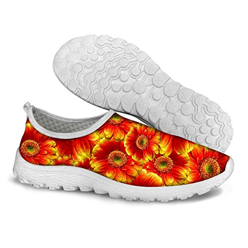 FOR U DESIGNS Hot Orange Flower Women's Mesh Convenient Running Shoes US 10 Review