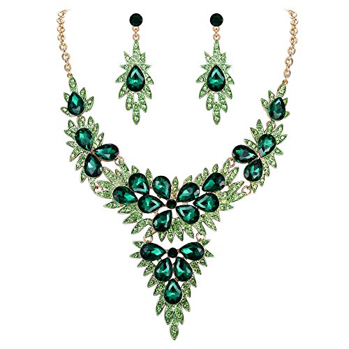 Crystal Cluster Drop Necklace - FANZE Women's Wedding Bridal Bridesmaid Austrian Crystal Cluster Leaf Teardrop Statement Y Necklace Dangle Earrings Set Gold-Tone Green