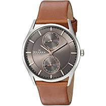 Skagen Mens SKW6086Holst Stainless Steel Watch with Brown Leather band