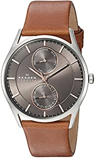 """Skagen Men's SKW6086""""Holst"""" Stainless Steel Watch with Brown Leather Band (B00GN3LI3Q) 