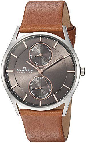 (Skagen Men's Holst Quartz Stainless Steel and Leather Casual Watch, Color: Silver-Tone, Brown (Model: SKW6086))