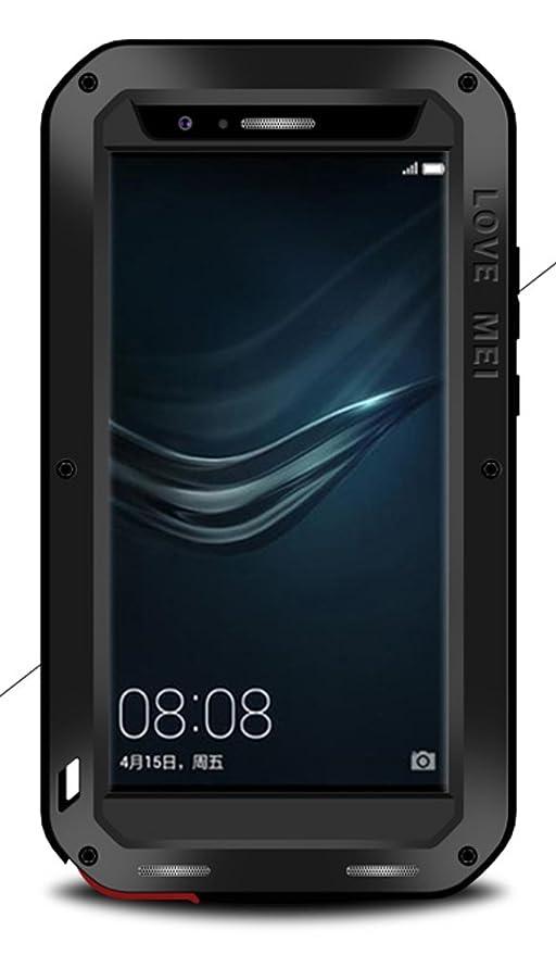 Funda de Love para Huawei P9, resistente al agua, a prueba de golpes, antipolvo, de metal y de aluminio con cristal templado.