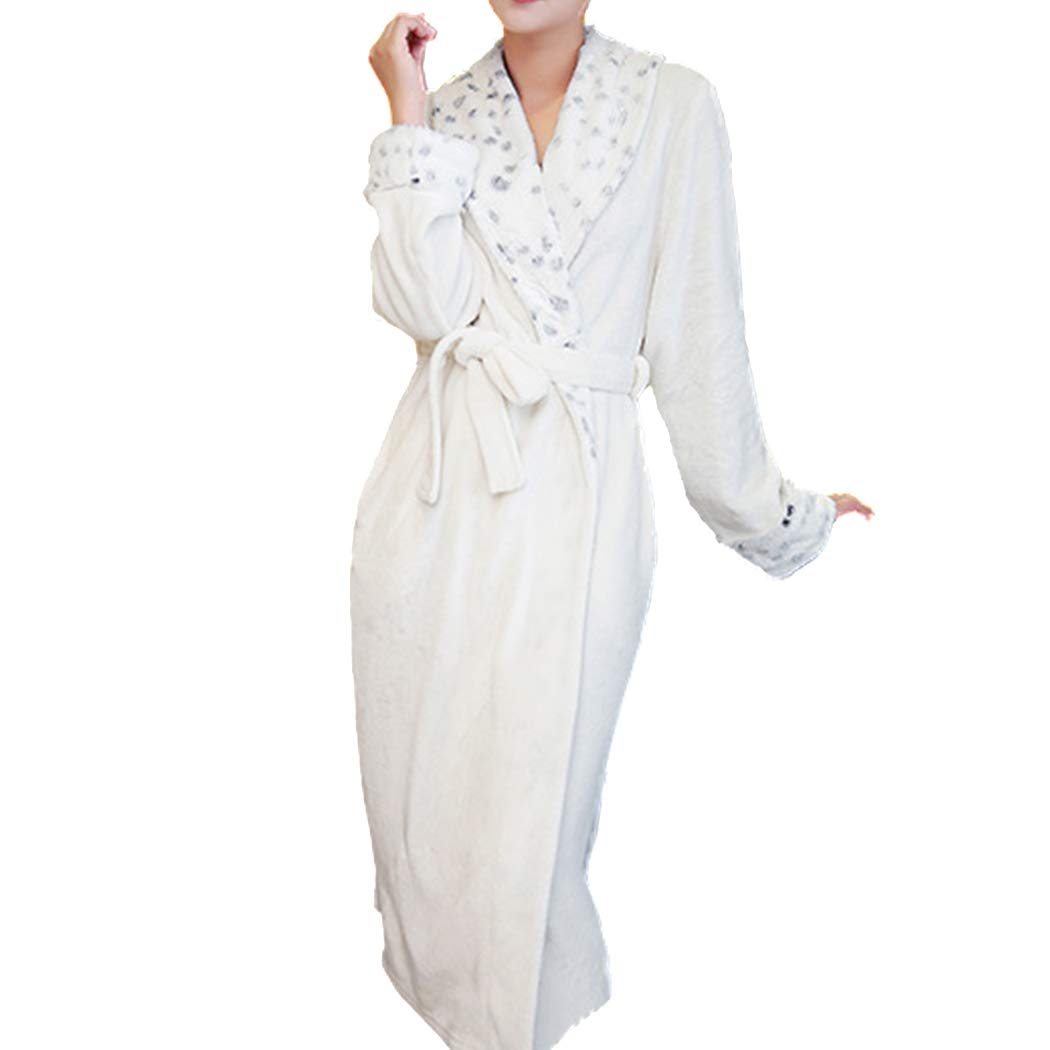 bbpawing Unisex Thick Flannel Nightgown Long Couple Fur Collar Warm Pajamas Belt JH_CMM_YP002