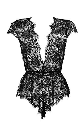 Anyou Women Lingerie V Neck Lace Bodysuit Mini Babydoll Features Plunging Eyelash S-Black