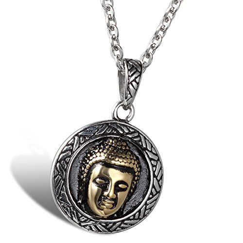 Oidea Mens Stainless Steel Handmade Bodhi Buddha Pendant Necklace,Gift Bag Included